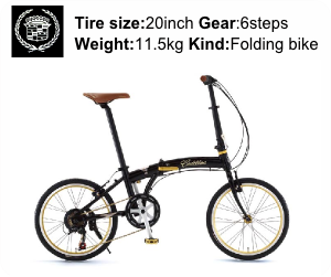 CADILLAC(キャデラック) 自転車 20インチ AL-FDB207 Jブラックの商品スペック-Tire size-20inch Gear-6steps Weight-11.5kg Kind-Folding bike