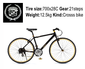 CADILLAC(キャデラック) 700C AL-CRB7021 Jブラックの商品説明-Tire size-700x28C Gear-21steps- Weight-12.5kg Kind-Cross bike