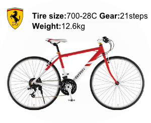 Ferrari(フェラーリ) 自転車 700C CR-D 7021 レッドの商品説明-Tire size-700-28C Gear-21steps Weight-12.6kg
