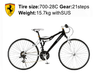 Ferrari(フェラーリ) 自転車 700C AL-CRB7021W-sus ブラックの商品説明-Tire size-700-28C Gear-21steps- Weight-15.7kg withSUS
