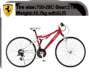 Ferrari(フェラーリ)自転車(クロスバイク)700C AL-CRB7021W-sus レッドの商品説明-Tire size-700-28C Gear-21steps- Weight-15.7kg