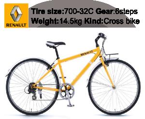 RENAULT(ルノー)自転車 700C CRB7006 オレンジ 【フロントキャリアー クロスバイク】の商品説明-Tire size-700-32C Gear-6steps Weight-14.5kg Kind-Cross bike